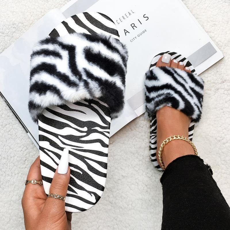 Пушистые меховые тапочки для животных отпечатки плоских искусственных слайдов пушистые шлепки зебра леопардовые печать дизайнер уютные сандалии женщины