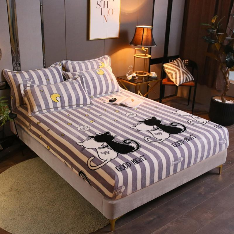 Couple Cat Flannel Bed Sheets Winter Warm Plush Fitted Sheet Soft Mink Cashmere Linen Mattress Cover Elastic Bedspread & Sets