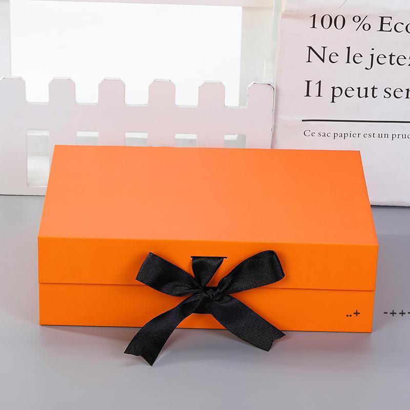 BOWKNOT هدية مربعات التعبئة فليب للطي محاصر عيد ميلاد هدايا مربع 27 * 19 * 8 سنتيمتر مناسبة للملابس مستحضرات التجميل والعناية بالبشرة FWD10521