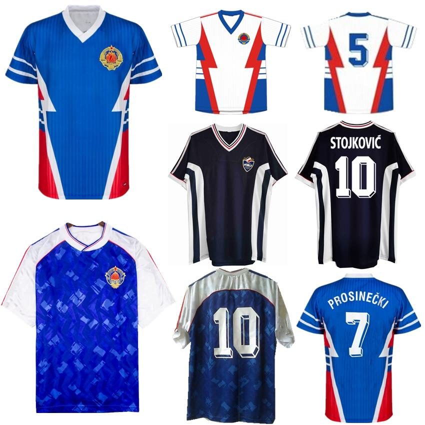 1990 Yougoslavie rétro Jersey 1991 1998 Jugoslavija Mijatovic Pancev Mihajlovic Stanvic Jugovic Stojkovic Savicevic Blott de football classique Vintage