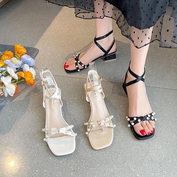 Zapatos de vestir tacones despejados sandalias de tacón alto mujer 2021 traje hembra beige verano hebilla correa med altura tacón negro perla chicas com