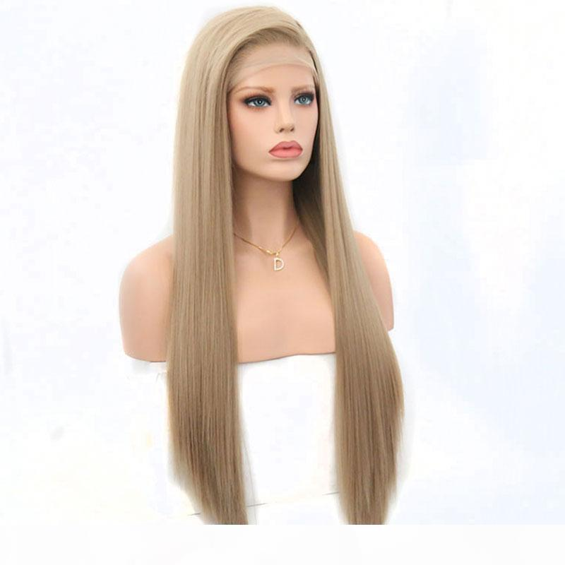 Perucas dianteiras de renda cabelo loiro para mulheres brancas calor resistente a calor luz marrom loira longa mulher sintética sintética sintética wig