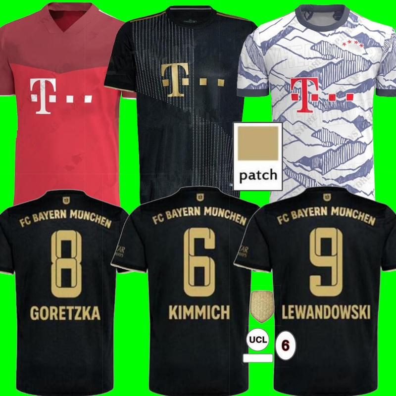 Bayern Soccer Jersey 21 22 Lewandowski Sane Goretzka ميونيخ كومان مولر ديفيز كرة القدم قميص الرجال عدة 2021 2022 HumeRrace الرابع