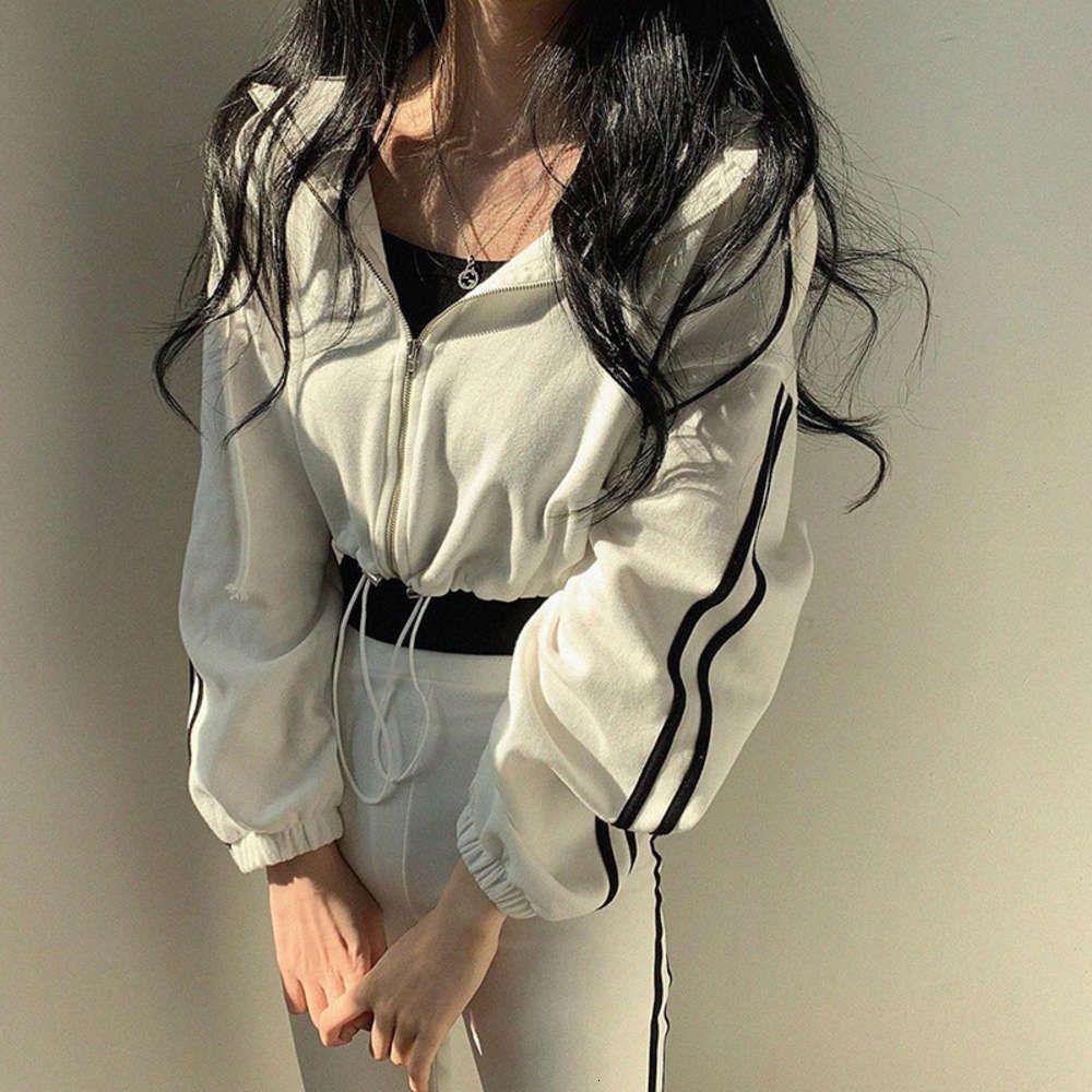 Bayanlar Kürk Kıyafet Kış Rahat Ve Çok Yönlü Renk Kontrast İpli Kapşonlu Fermuar Kısa Gevşek Ceket