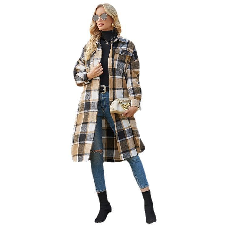 Women's Wool & Blends 2021 Autumn-Winter Long-sleeved Women Windbreaker Side Slit Lapel Loose Woolen Plaid Shirt Jacket Single Breasted Cont