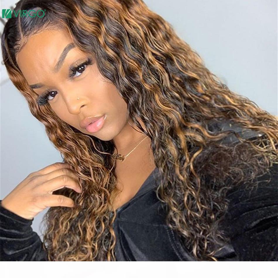 Vierge Cheveux Blonde Perruque Perruque Wig Wig Wave Ombre Coloré 13x4 Dentelle Dentelle Front Human Cheveux Perruques Remy 150% Densité