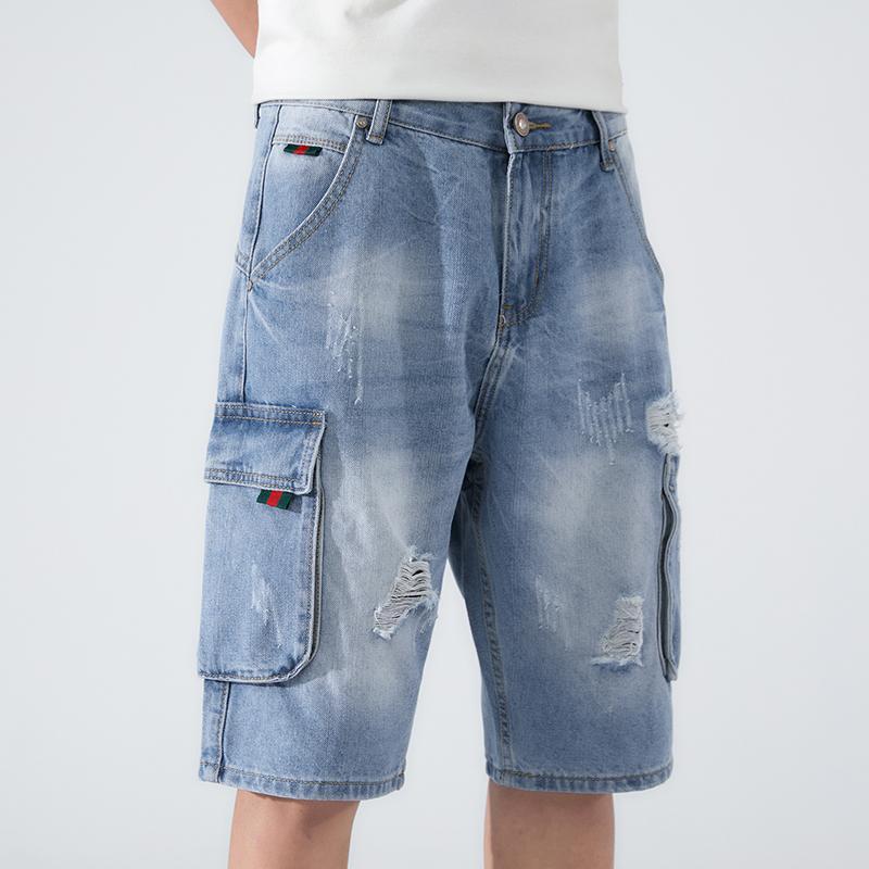 Artı Boyutu Denim Şort Erkekler 2021 Yaz Moda Yıkılan Delik Mavi Yırtık Kot Kısa Kargo Pantolon Erkekler