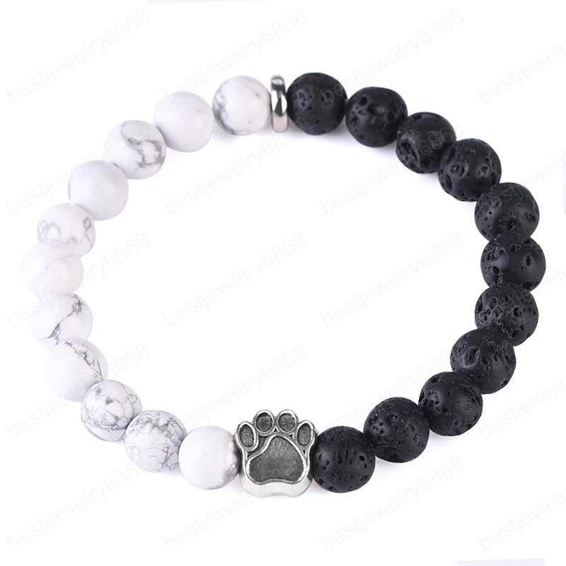 Bear Paw FootPrints Black Lava Turquoise Blanc Breads Bracelet Foot Foom Howlite Balance Femme Men Lovelets 'Bracelets