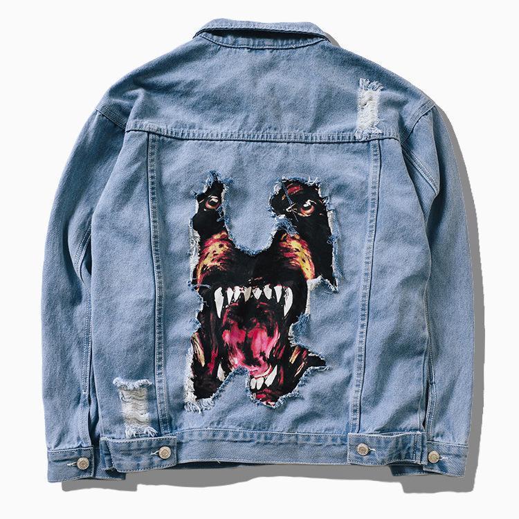 Jaquetas dos homens 2021 denim Hip Hop Streetwear cabeça de cão Impressão Cowboy Rasgado Afligido Jean Homens Mulheres Marca Casual Casaco