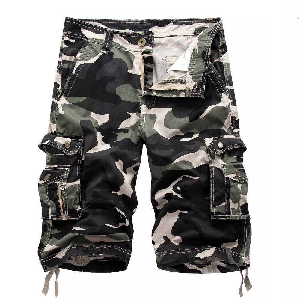 Pantalones cortos de camuflaje del ejército de los bolsillos del ejército de camuflaje del ejército de los hombres más azul 29-40 Casual Oscura verde suelta Fashion Bread Broek