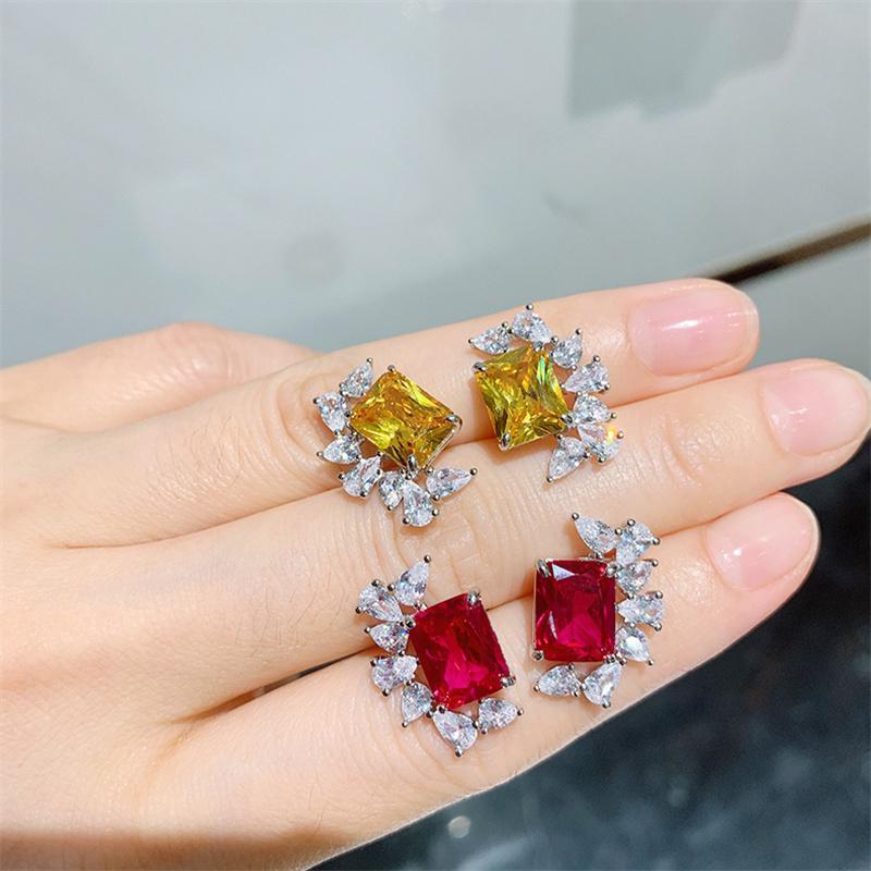 Stud QLuxury Female Crystal Red Yellow Zircon Earrings Vintage Wedding For Women 925 Silver Jewelry