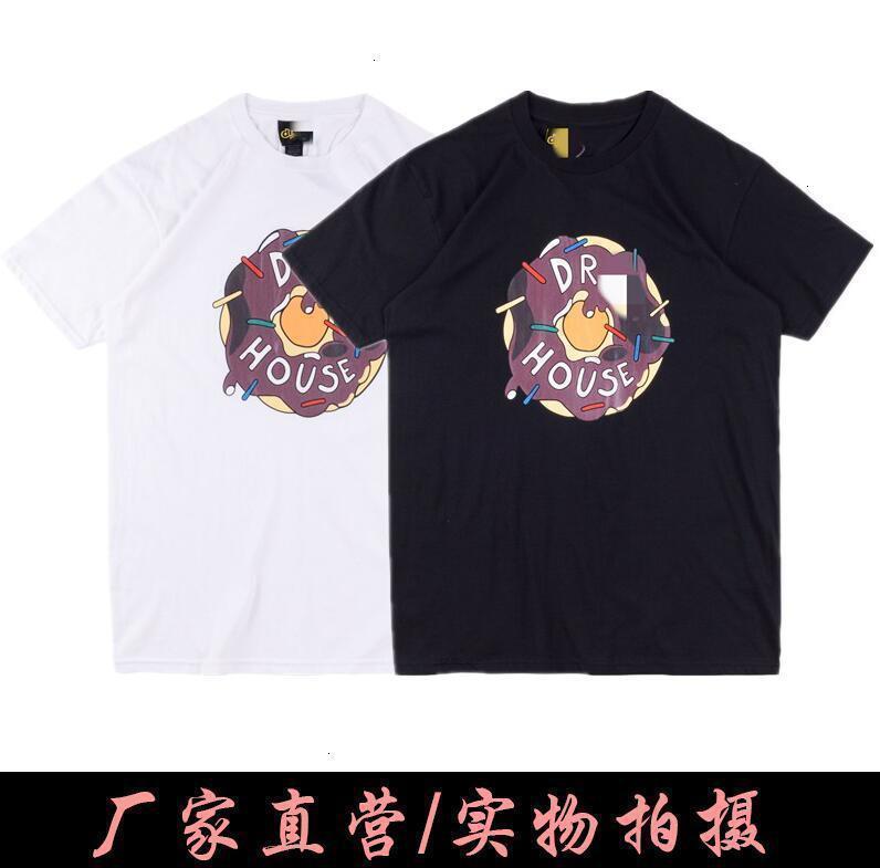 Jie Chao Gao Brand Drew Smiley Face Sleeve Short Bieber Mismo estilo Llorando niña Donut Carta Niebla Hombres y camiseta de pareja de mujeres Kew7