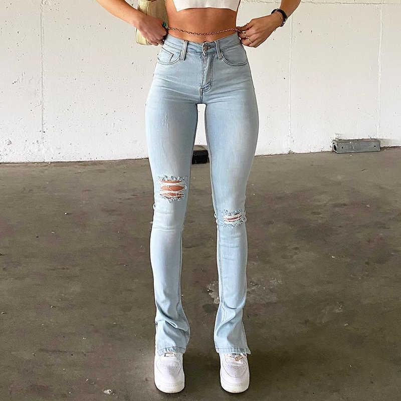 Jeggings für Frauen Hohe Taille Blaue Skinny Jeans Frauen Slim Dehnbare Komfort Denim Hose 2021 Mode Sommer Split Hosen Neue Y0602