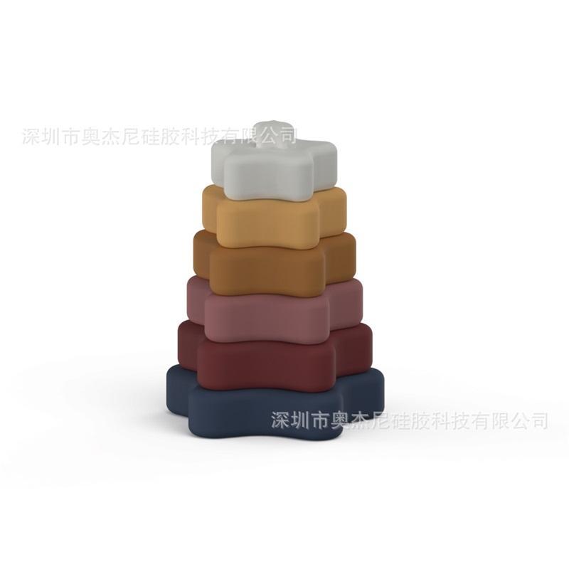 Baby Building Blocks Toys Five مدببة على شكل نجم على شكل لون نقي الغذاء الصف سيليكون أطفال Souptoys 2020 متعدد الألوان مجموعة من ستة 24 42JN J2