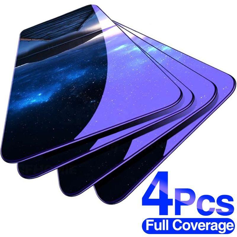4 pcs vidro protetor completo para Xiaomi Redmi Nota 8 7 6 5 9S 9 Pro máximo Protetor de tela temperada para Redmi 7 7A 8 8A 9 Filme de vidro