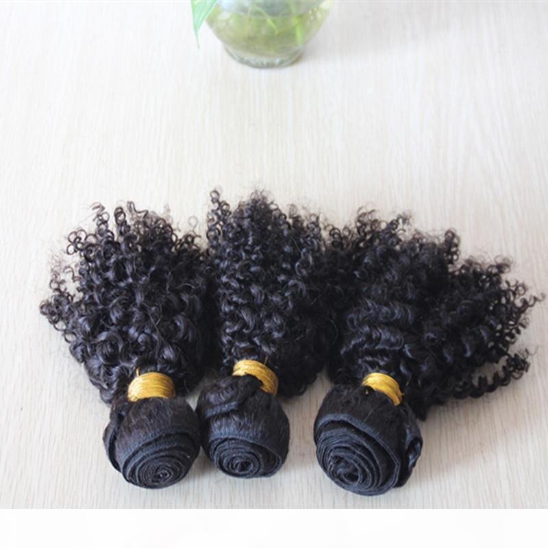 Очаровательные волосы вьющиеся вьющиеся бразильские афро щипцы вьющиеся вьющиеся 3 шт. Пакетики необработанные Джерри скручиваемость человеческими девственными волосами, плетеными богемными волосами