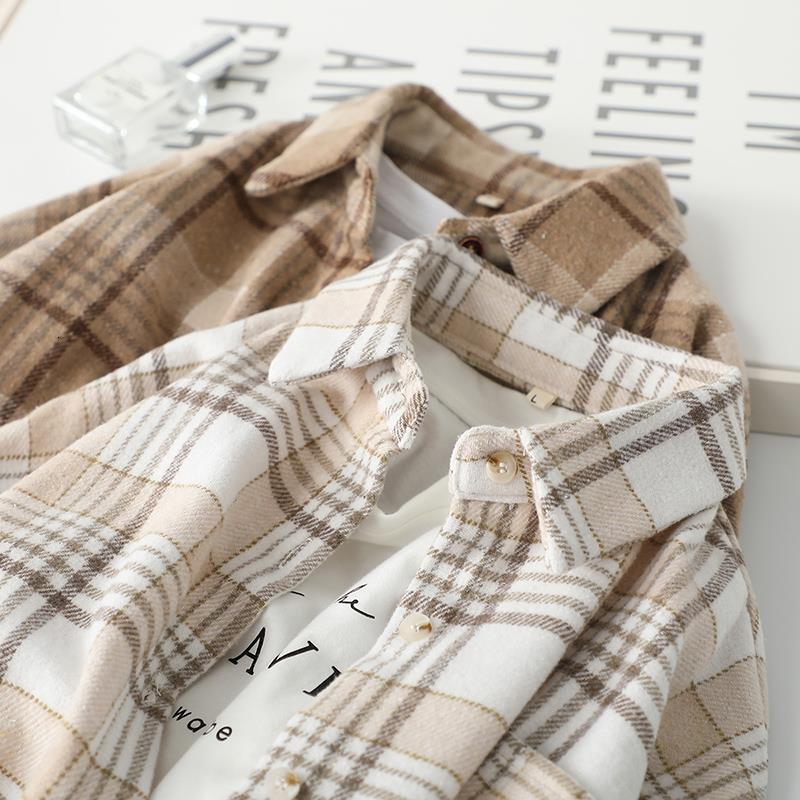 Women's Blouses & Shirts Blusa feminina xadrez de lã, casaco feminino com camisa grossa manga comprida RWPM