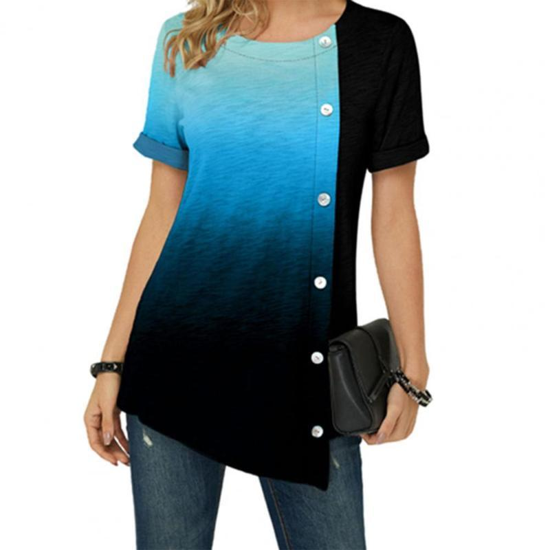Lose Frauen T-shirt Kurzarm Gradient Farbe Baumwollmischung Unregelmäßigkeiten Saum T-shirt Top Sommer Plus Größe T-shirts Frauen