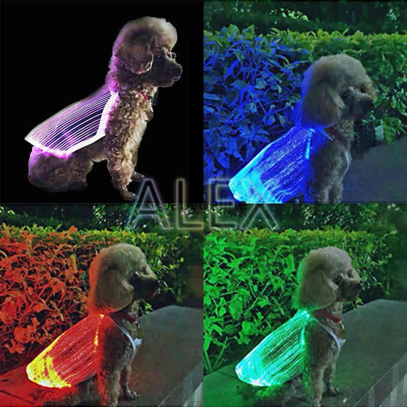 LED luminous pet dog apparel USB Portable charging fashion colorful bright pet-dog clothes anti-lost dog-supplies vest