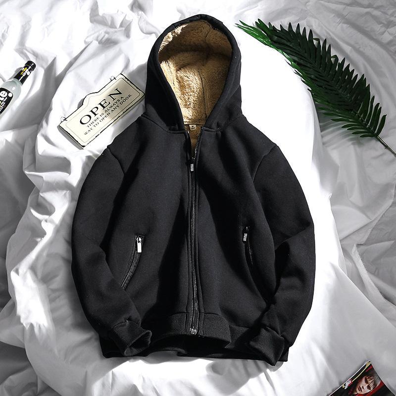 Hangjia Kış Erkek Fermuar Kazak Sherpa Hoodies Teen Kalınlaşma Artı Kadife Katı Renk Hoodie Rahat Kentsel Giyim M-3XL