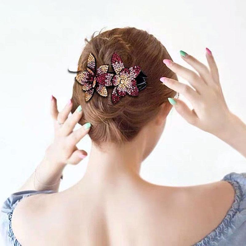 1 adet Vintage Çiçek Duckbill Saç Kadın Shinning Rhinestone Firkete Şinke Klipler Aksesuarları Tokalar