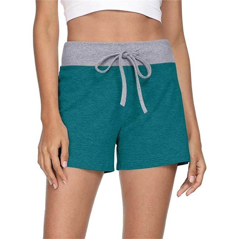 Sommer kontrastierende Farbe Patchwork Kordelzug Kurze Hosen Frauen Casual Hohe Taille Plus Größe Sport Strand Mini Shorts 210603