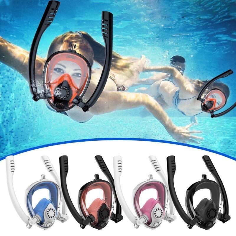 Tubo Duplo Silicone Full Seco Anti-Nevoeiro Máscara Adulto Face Snorkel Goggles Snorkeling Natação S / M #Z Máscaras