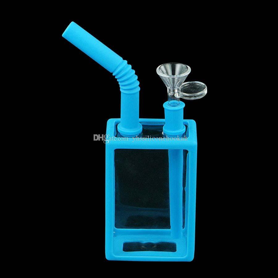 Água de vidro Bong Tubulações Tubos de fumo Silicone Bongs Hookahs para cigarro