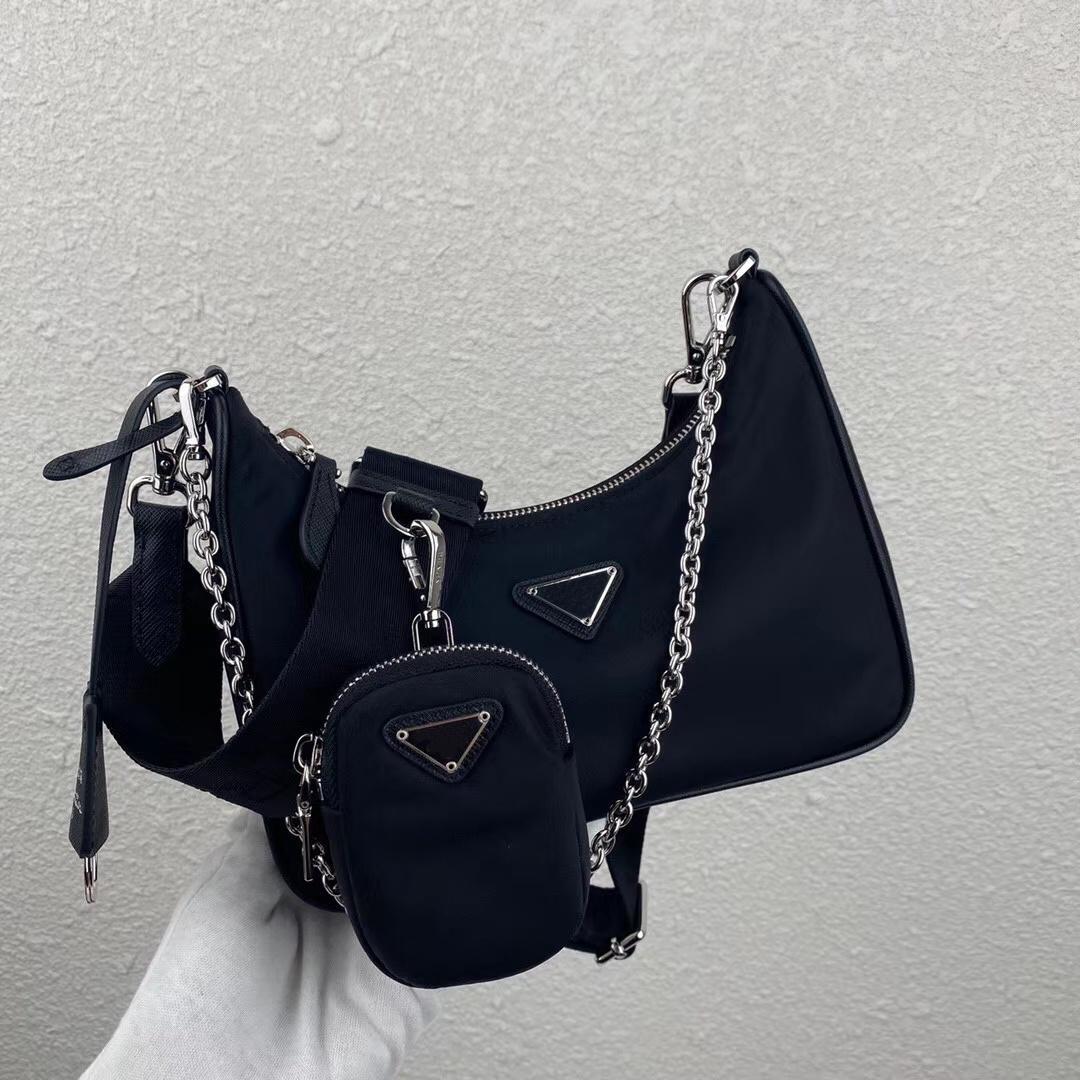 Fio nylon icônico Mini Bag Destacável bolsa ligado à alça de ombro Mulheres Chain Logotipo-impressão tecidas bolsas