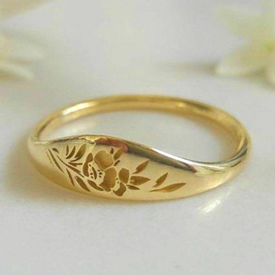 Hot New Jewelry Simples Hollow Out Flor Grinalda Anel de Noivado Presente de Natal Imjg