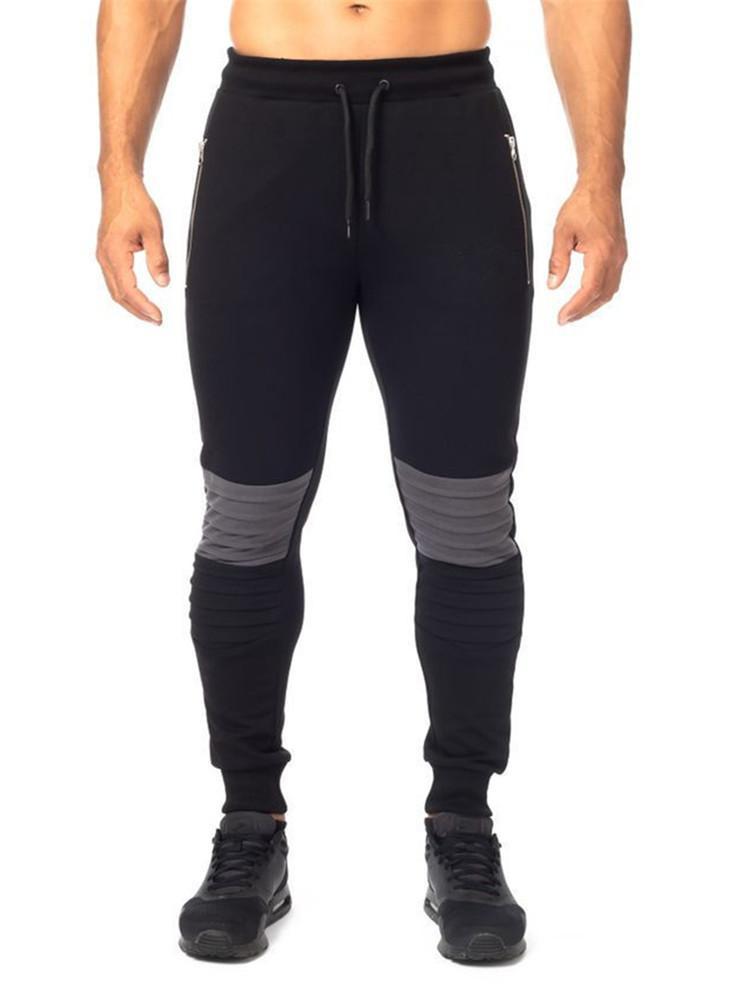 Herrenhose Turnhallen Joggers Dünne Baumwolle Sweat Patchwork Strumpfhosen Sweatpants Für Männer Seitenreißverschlusshose