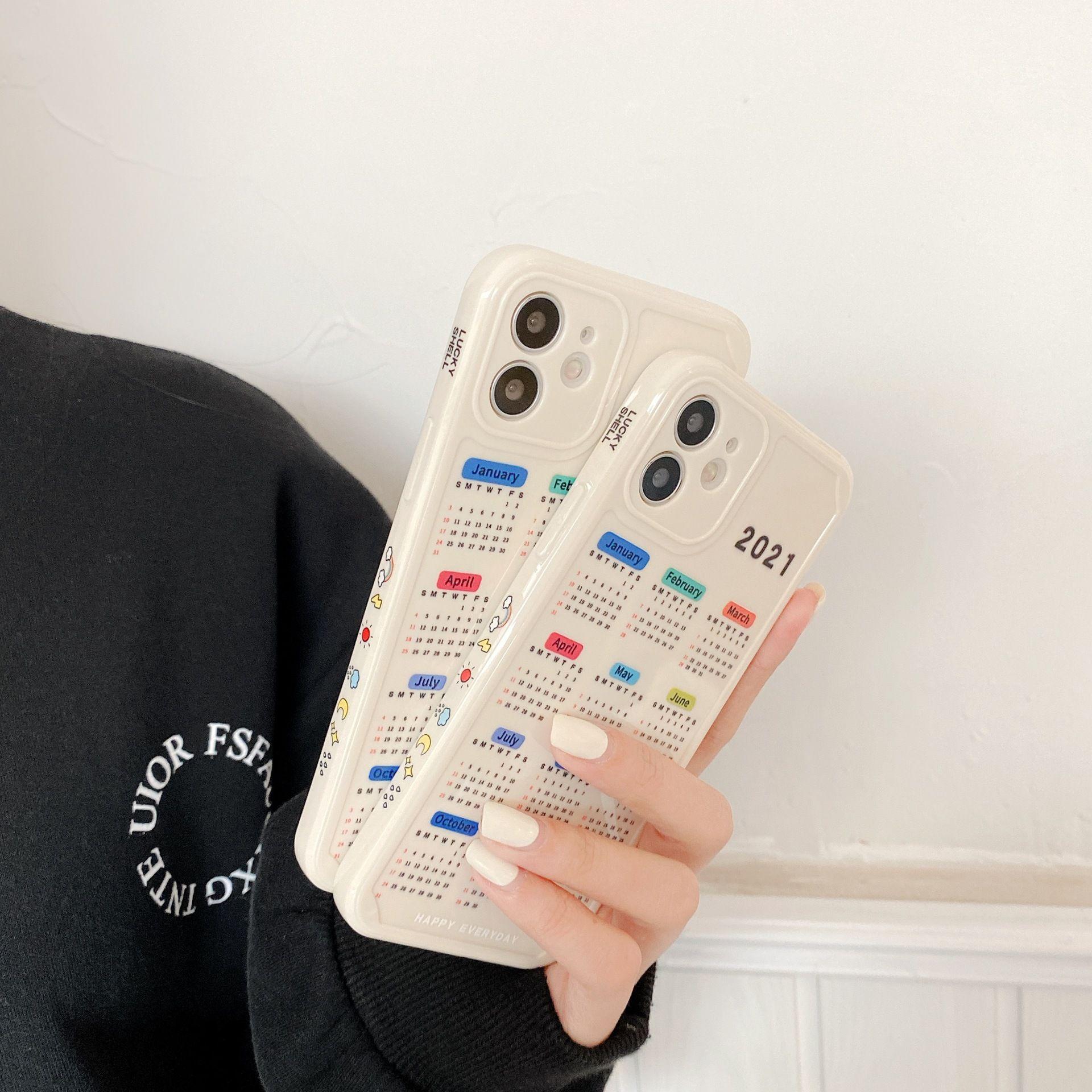 Reli 2021 ano dos casos de celular calendário de boi para iphone 11 12 pro max xr x 7 8 mais caso soft tpu estojo lateral criativo