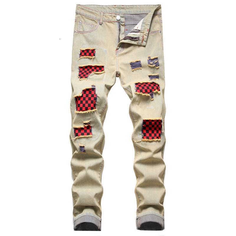2021 Nova Marca de Moda Furo Calças de Jeans Calças Straight Casual Vestuário masculino