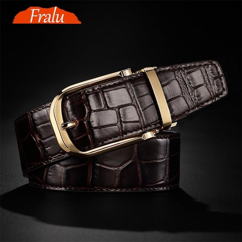 FRALU Hohe Qualität Männer Echtes Leder Gürtel Designer Gürtel Gürtel Männer Luxus Männliche Gürtel Für Männer Mode Vintage Pin Schnalle für 210324