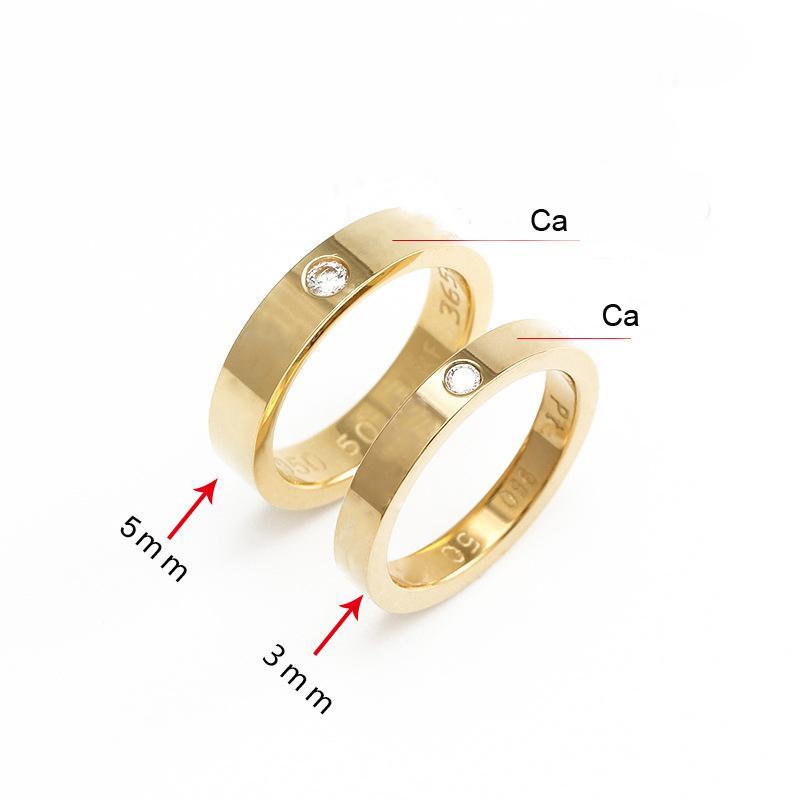 Anelli in acciaio inox per donne Uomo Gioielli Coppie Cubic Zirconia Gold Silver Rose con sacchetto rosso 3mm 5mm