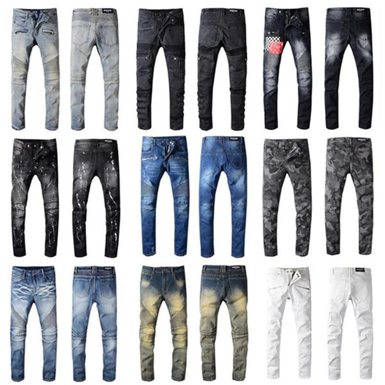 2021 Calças de desenhista Homens Mulheres Jean Impressão Exército Verde Destruído Mens Slim Denim Reto Biker Skinny Jeans