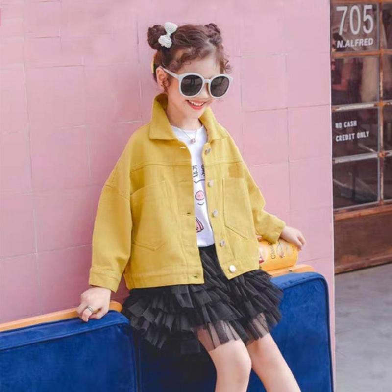 أطفال الدنيم جاكيتات للفتيات الطفل شخصية الطباعة معاطف ربيع الخريف أزياء الطفل أبلى ممزق جينز جان