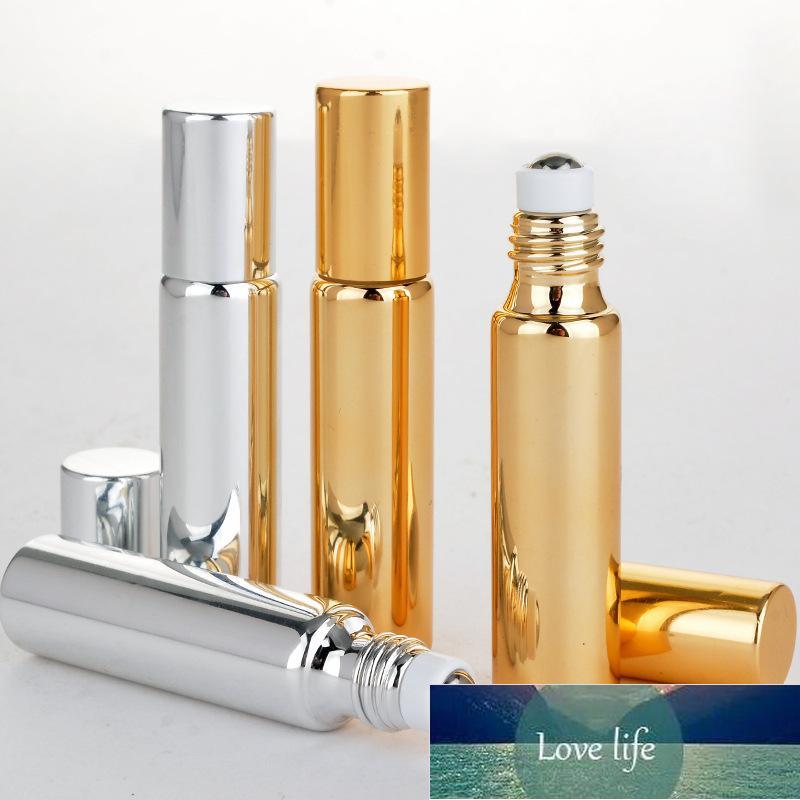1 adet 10 ml cam şişe rulo boş koku parfüm esansiyel yağ şişesi ile metal top rulo plastik kap taşınabilir