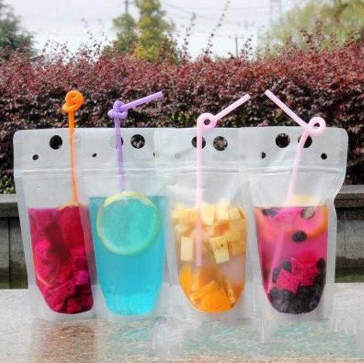 100pcs Hot Clear Drink Pouches Bags frosted Zipper Stand-up Plastic Drinking Bag with straw with holder Reclosable Heat-Proof FY4061