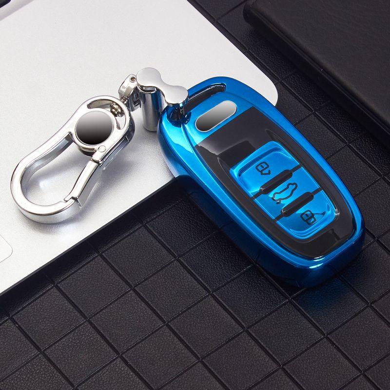 غطاء مفتاح السيارة لأودي A3 A4 B9 A6 C8 A7 S7 4K A8 D5 S8 Q7 Q8 SQ8 E-TRON 18 19 20 21 Keychain حالة حامل الملحقات