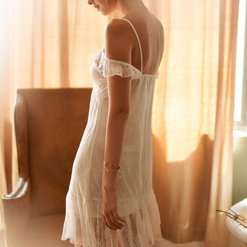 Kadın Pijama Sleepdress Sexy Lingerie Beyaz Erotik Perspektif Dantel Kadın Günaha Kadın Gecelik Gecelikler Uyku Elbise