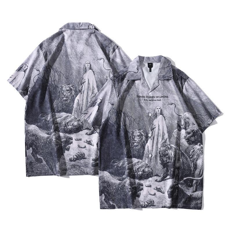 2021 Nouvelle rue High Street Hawaiian Vierge Mary Lion Print Plein Plage Cardigan Chemise pour hommes à manches courtes