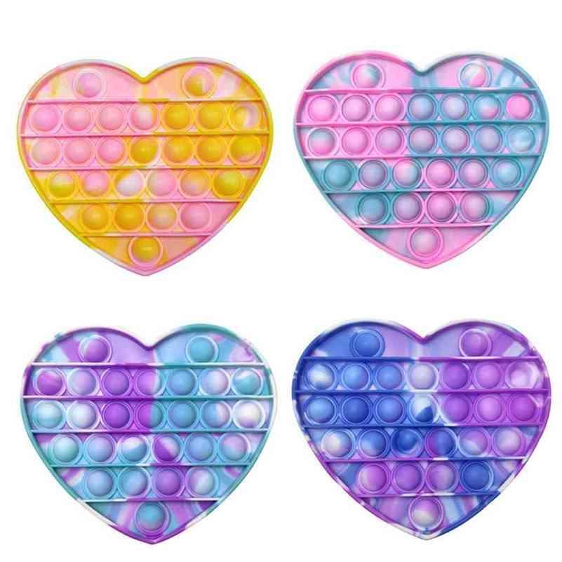 Adulto Fidget Toys Bubble Poppers Rainbow Tie Teñido Pioneer Tik Tok Ansiedad Autismo Puzzle Desktop Game Silicone DecomPression Toys G52MC11