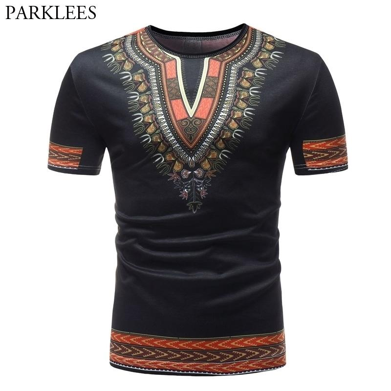 Moda Africana Dashiki Stampa Uomini T Shirt Marca Casual Slim O-Collo T-shirt manica corta Uomini Hip Hop Top Top Tees Abbigliamento uomo 210319