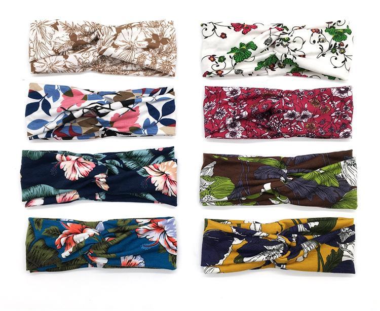 Europäische und amerikanische Mode-Yoga-Stirnband-Temperament-Druck geknotet Damen Wide-Cremed Stirnband Stirnband Schmuckhaar GWD8245