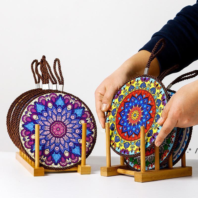 Marokkanische keramische Kork-Matte Doppelschicht-Töpfer- und Porzellan-Untersetzer-Kaffeetasse Platz-Matten mit Korken-Basis FWA4485