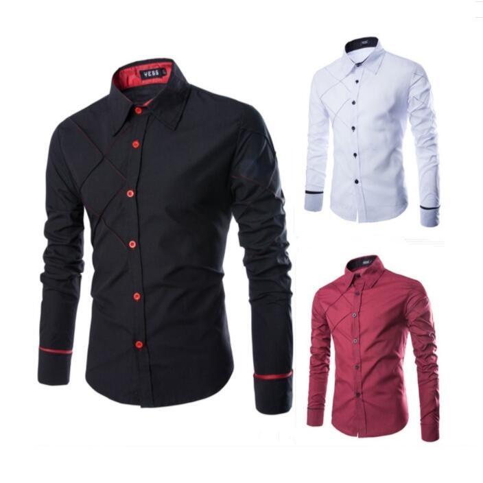 Maat M-3XL Mens Casual Slim Fit Stijlvolle Lange mouw Argyle Jurk Shirts F56 3 Kleur