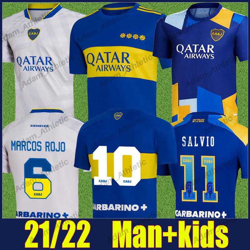 Camiseta Boca Juniors Soccer Jerseys 2021/22 Pavon Tevez Carlitos Maradona Football Shirts De Rossi Marcos Rojo Salvio Jersey Villa Varela Cabj Man Kids Kit 21/22 Top