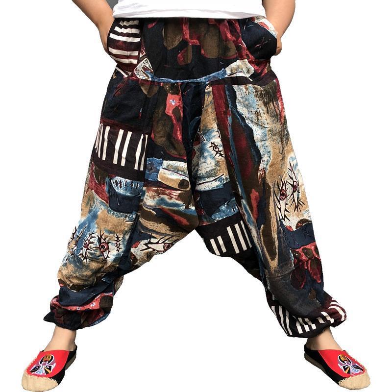 남성용 바지 헐렁한 면화 린넨 하렘 남자 힙합 플러스 사이즈 와이드 다리 바지 캐주얼 느슨한 빈티지 긴 Pantalon Hombre 2021