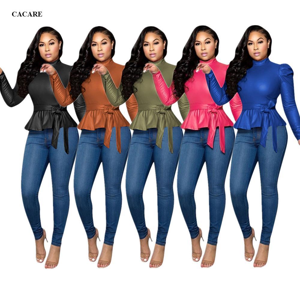 Camisa superior de la moda europea Mujeres Faux de cuero con cortaveja Vintage Chaqueta Primavera Otoño de gran tamaño F0023 Tallas grandes